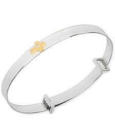 Children's Diamond Accent Central Cross Expander Bangle Bracelet in Sterling Silver and 14K Gold over Sterling Silver