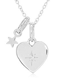 Children's Diamond Accent Heart Necklace in Sterling Silver