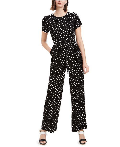 Calvin Klein Polka Dot Tulip Sleeve Jumpsuit