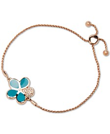 Blue Mother-of-Pearl & White Sapphire (1/4 ct. t.w.) Bolo Bracelet in Rose Gold-Plated Sterling Silver
