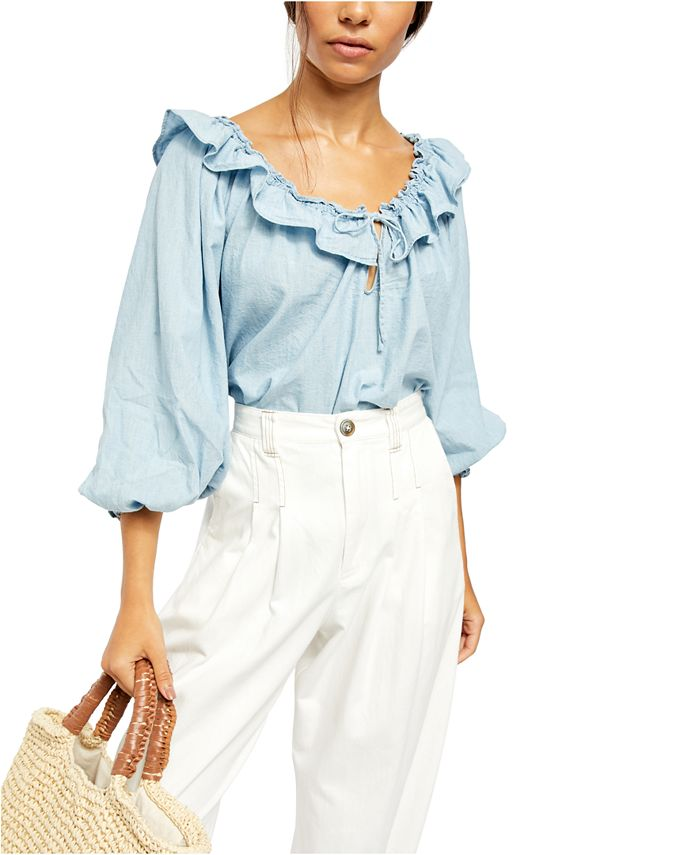 Free People - Lily Of The Valley Ruffled Tie-Neck Top