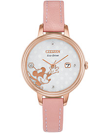 Disney by Citizen Eco-Drive Women's Classic Diamond-Accent Pink Leather Strap Watch 31mm