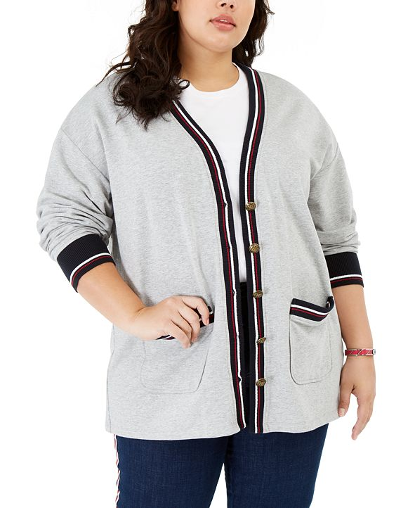 Tommy Hilfiger Plus Size Striped-Trim Cardigan