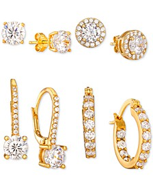 4-Pc. Set Cubic Zirconia Stud, Drop & Hoop Earrings in 18k Gold-Plated Sterling Silver, Created For Macy's