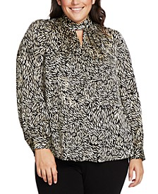 Plus Size Printed Twist-Neck Keyhole Top