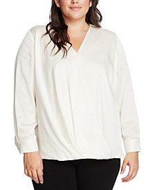 Plus Size Wrap-Front Blouse