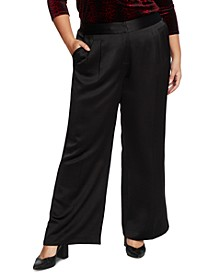 Plus Size Satin Wide-Leg Pants