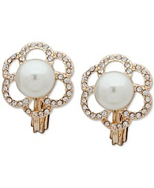 Pave and Pearl E-Z Comfort Clip On Earrings
