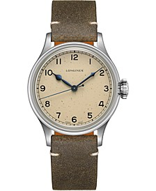 Men's Swiss Automatic Heritage Military Khaki Leather Strap Watch 38.5mm