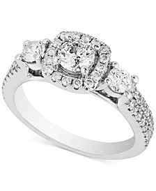 Diamond Triple Stone Halo Ring (1-1/3 ct. t.w.) in 14k White Gold
