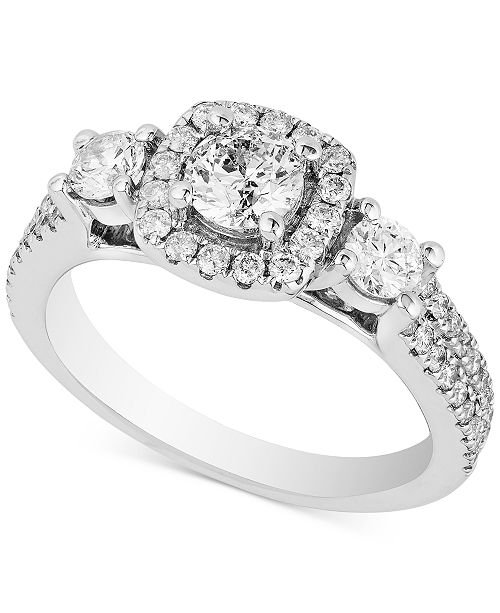Macy's Diamond Triple Stone Halo Ring (1-1/3 ct. t.w.) in 14k White Gold