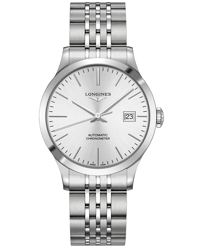 Longines - Men's Swiss Automatic Record Collection Stainless Steel Bracelet Watch 38.5mm