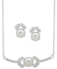 "Silver-Tone Crystal and Imitation Pearl Statement Necklace & Stud Earrings Set, 16"" + 3"" extender"