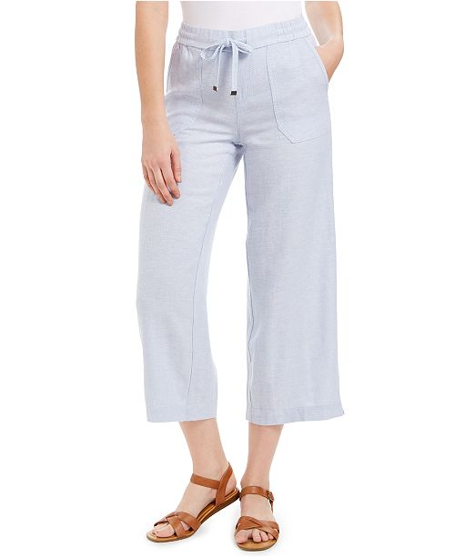 Style & Co Wide-Leg Linen Cropped Pants, Created for Macy's