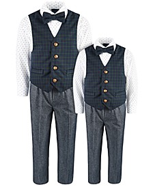 4-Pc. Green Tartan Vest Sets