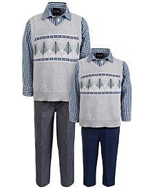 Baby, Toddler & Little Boys 3-Pc. Winter Tree Fair Isle Sweater Vest, Check Shirt & Pants Sets