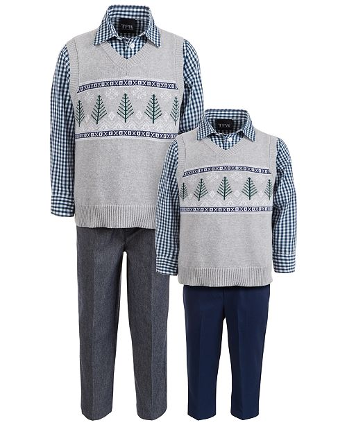 TFW Baby, Toddler & Little Boys 3-Pc. Winter Tree Fair Isle Sweater Vest, Check Shirt & Pants Sets