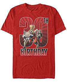Fifth Sun Men's Guardians of The Galaxy Rocket and Baby Groot 30th Birthday Short Sleeve T-Shirt