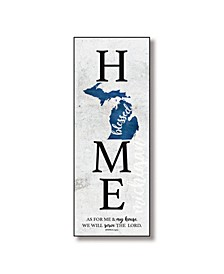 "Michigan Home-Blessed Wood Wall Plaque with Hanger, 5.5"" x 12"""