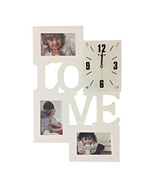 Love Clock with 3 Photo Frames