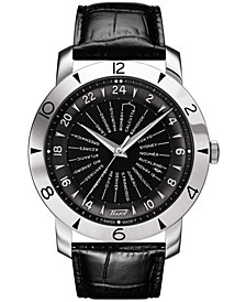 Men's Swiss Automatic Heritage Navigator 160th Anniversary Black Leather Strap Watch 43mm