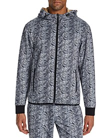 Men's Slim-Fit Stretch Snake Skin Print Hoodie