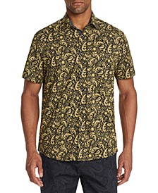 Men's Slim-Fit Performance Stretch Paisley Short Sleeve Shirt