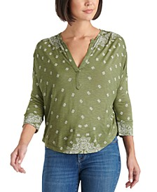 Printed 3/4-Sleeve Henley Top