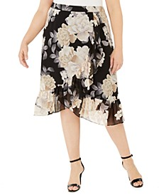Plus Size Crossover Ruffled Skirt