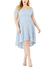 Plus Size Off-Shoulder Scalloped Dress