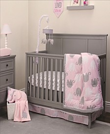 Pink Elephant 4-Piece Crib Bedding Set