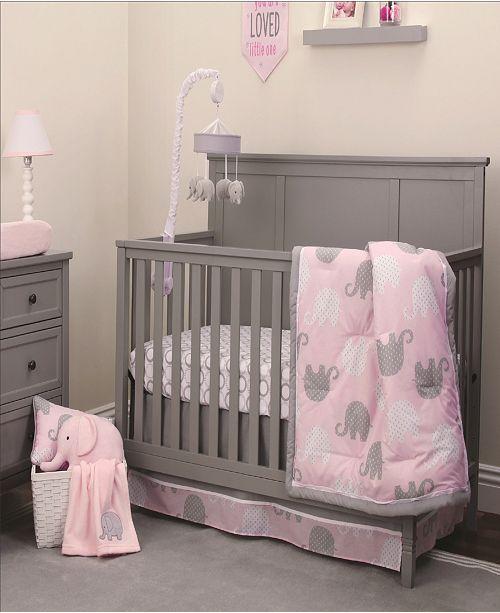 NoJo Pink Elephant 4-Piece Crib Bedding Set