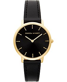 Women's Major Black Leather Strap Watch 35mm