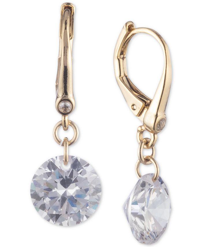 DKNY - Gold-Tone Crystal Drop Earrings