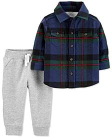 Baby Boys 2-Pc. Plaid Flannel Top & Fleece Pants Set