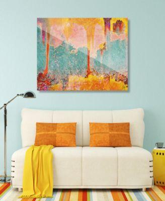 "Radioactive Fallout in Yellow Abstract 16"" x 20"" Acrylic Wall Art Print"