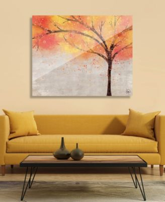 "Sparkle Tree in Orange Yellow Abstract 20"" x 24"" Acrylic Wall Art Print"