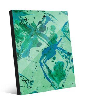 "Cro Magnon Green Abstract 16"" x 20"" Acrylic Wall Art Print"