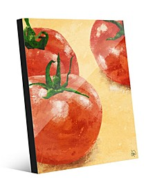 Painted Tomatoes on Yellow Acrylic Wall Art Print Collection