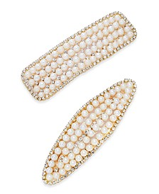 INC 2-Pc. Set Gold-Tone Pavé & Imitation Pearl Hair Clips, Created for Macy's