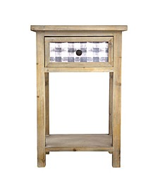 American Art Decor Farmhouse Nightstand Bedside End Table