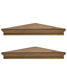 American Art Decor Rustic Wood Floating Corner Shelves, Set of 2