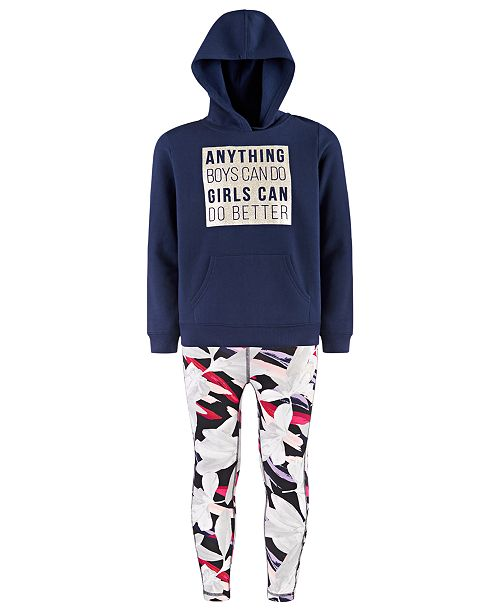 Ideology Big Girls Graphic-Print Hoodie & Caged Leggings, Created For Macy's