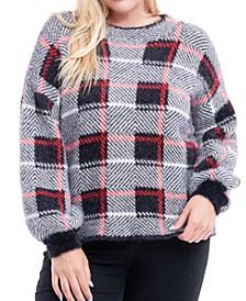 Plus Size Plaid Fuzzy Sweater