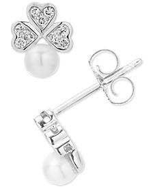 Diamond (1/10 ct. t.w.) & Freshwater Pearl (8-1/2-9mm) Stud Earrings in Sterling Silver