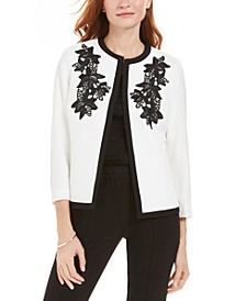 Petite Embroidered Flyaway Jacket