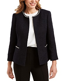 Faux-Pearl Embellished Textured Jacket
