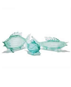 Two's Company Aqua Fish Glass Art - Set of 3