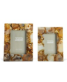 Amber Agate Photo Frames in Gift Box - Set of 2