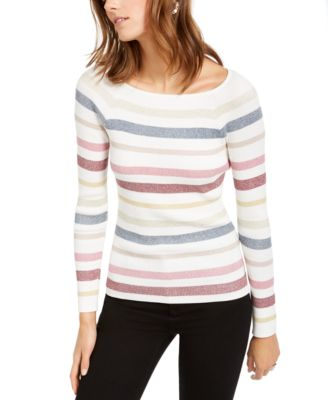 I-N-C Womens Colorblocked Striped Pullover Sweater